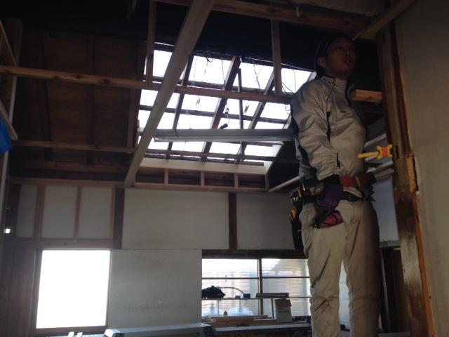 天井造作中